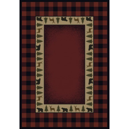 New Buffalo Red Area Rug - Cabin Style