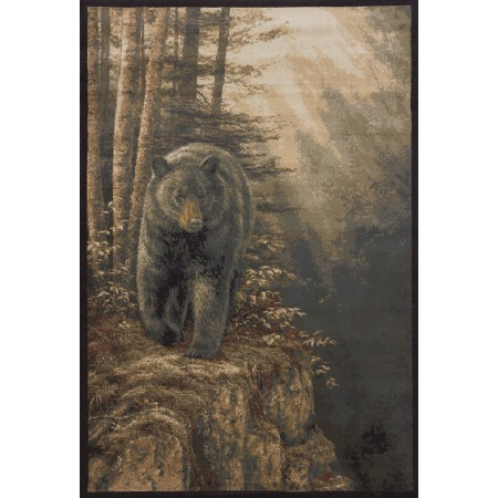 Rocky Black Bear Area Rug - Lodge Themed
