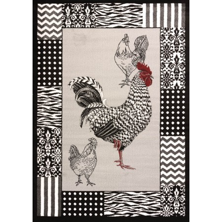 Bw Rooster Grey Area Rug - Traditional Style