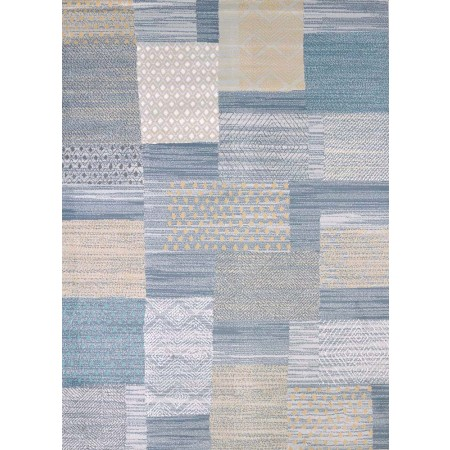 Applique Blue Area Rug - Transitional Style