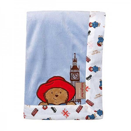 Paddington Bear Framed Blue Velour Receiving Blanket