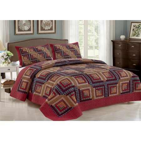 Cedar Creek Log Cabin Quilt Set - Full/Queen Size - Includes Shams
