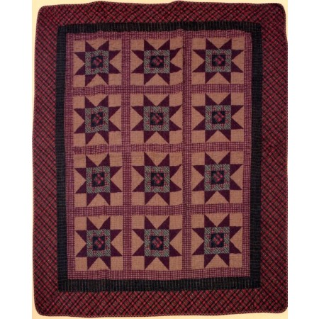 Primitive Colonial Star Throw Size Quilt