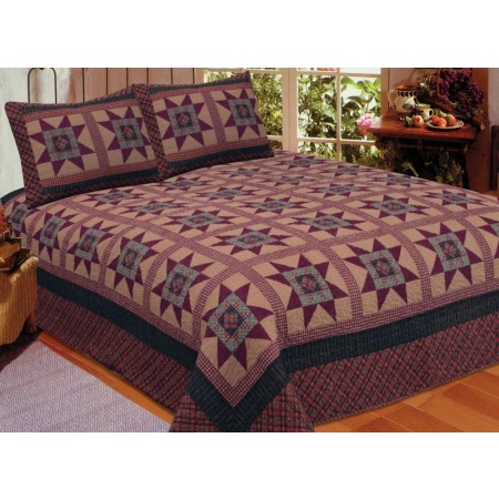 Primitive Colonial Star Quilt Set - Queen Size - Includes Shams