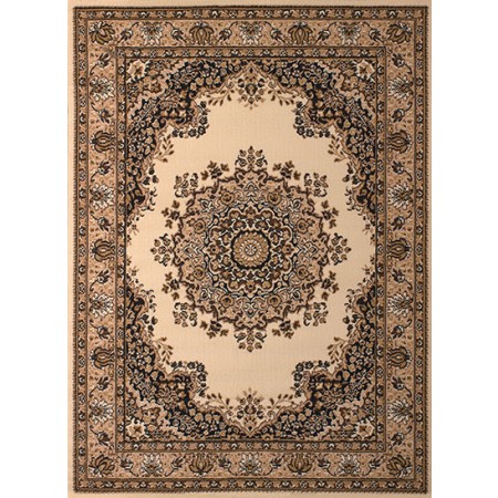 Floral Kirman Ivory Area Rug - Traditional Style