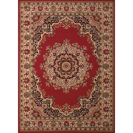 Floral Kirman Red Area Rug - Traditional Style