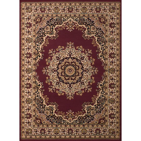 Floral Kirman Burgundy Area Rug - Traditional Style