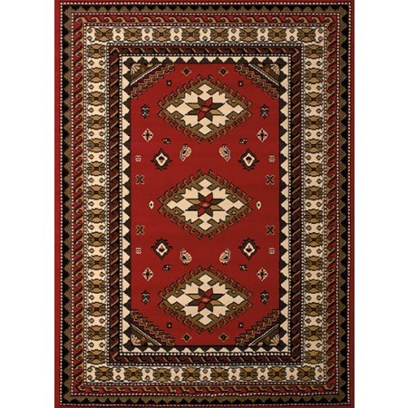 Tres Red Area Rug - Traditional Style