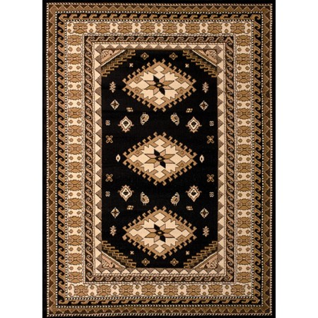 Tres Black Area Rug - Traditional Style