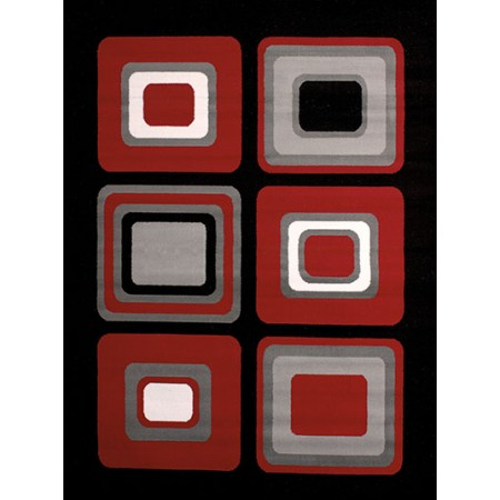 Spaces Red Area Rug - Geometric Style