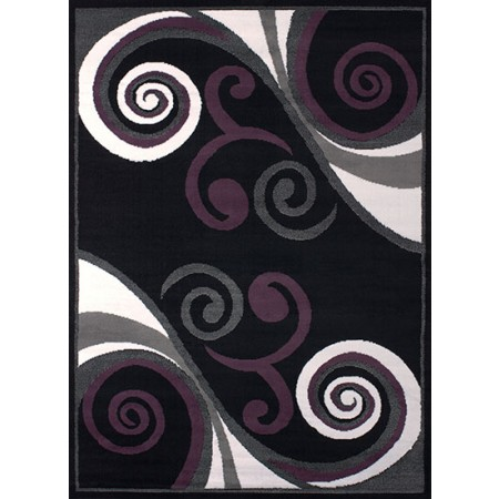 Billow Black Area Rug - Transitional Style