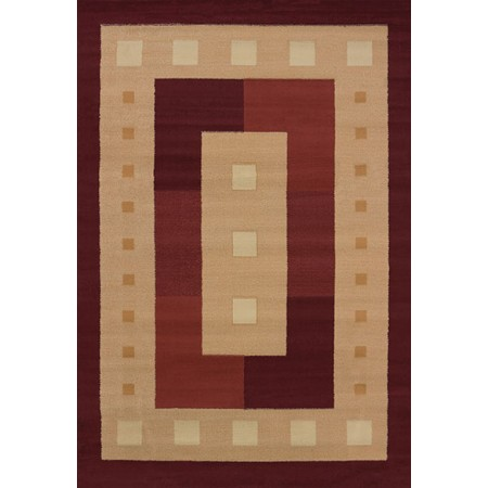 Time Square Burgundy Area Rug - Geometric Style