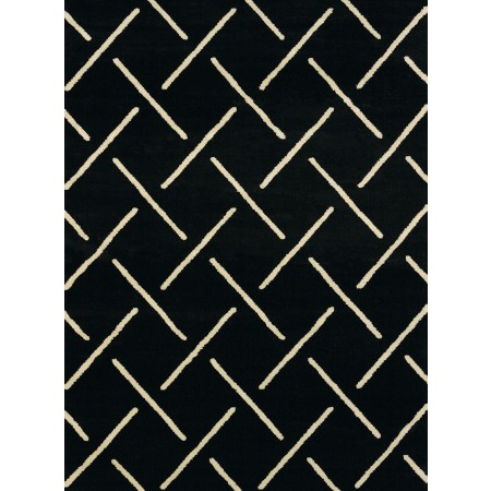 Striker Black Area Rug - Transitional Style