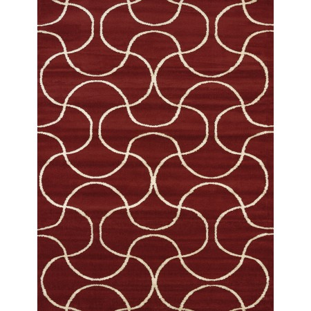 Pavane Red Area Rug - Transitional Style