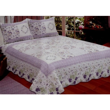 Lilac Fields Purple Quilt Set - King Size - Includes 2 Pillow Shams