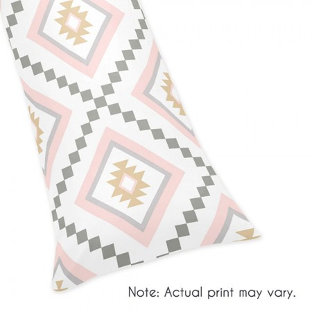 Aztec Pink & Gray Body Pillow Cover