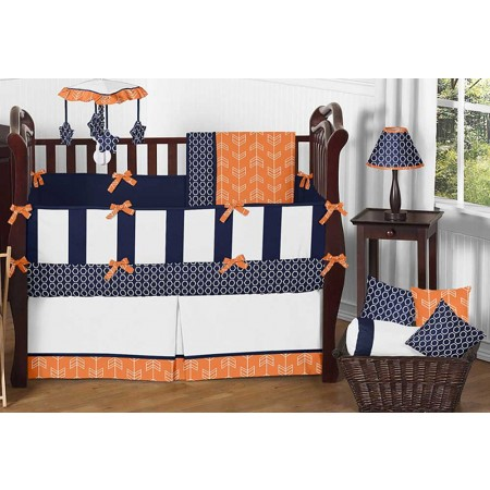 Arrow Orange & Navy Crib Bedding Set by Sweet Jojo Designs - 9 piece