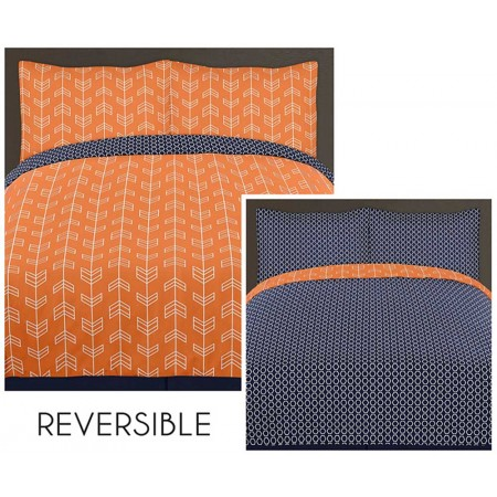 Arrow Orange & Navy Comforter Set - 3 Piece Full/Queen Size By Sweet Jojo Designs