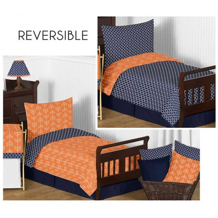 Arrow Orange & Navy Toddler Bedding Set By Sweet Jojo Designs