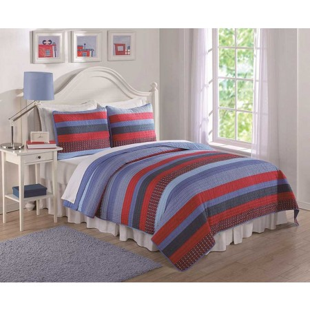 Blue and Red Sebas Stripe Full/Queen Quilt and Shams