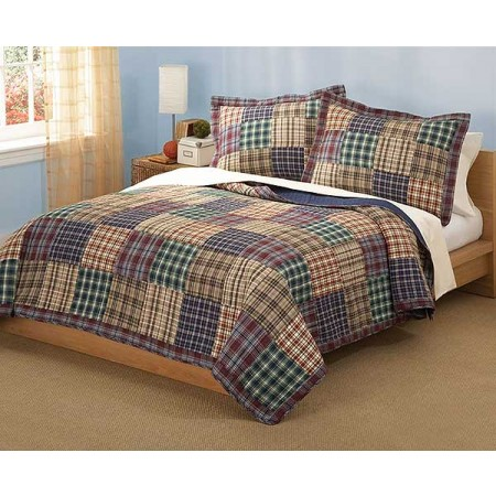 Bradley Plaid Quilt and Sham Set - Full/Queen Size