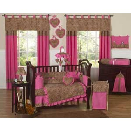 Cheetah Pink Crib Bedding Set by Sweet Jojo Designs - 9 piece