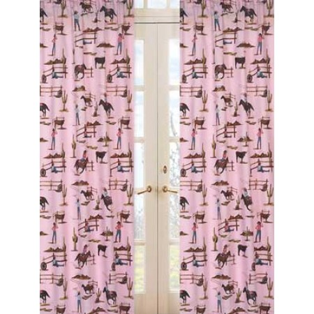Cowgirl Western Window Panels (Cowgirl Horse Print)