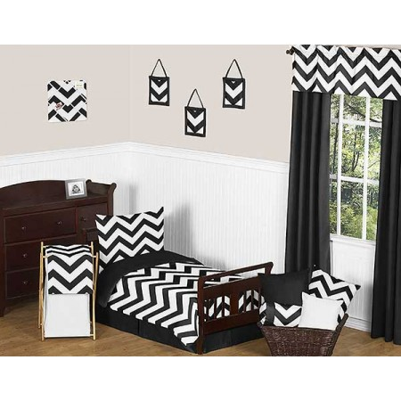 Black & White Chevron Print Toddler Bed Set