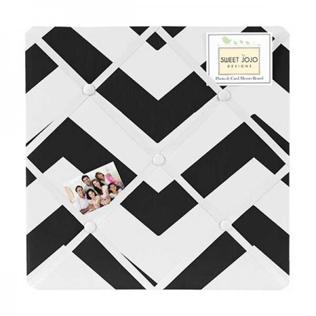 Black & White Chevron Print Fabric Memo Board