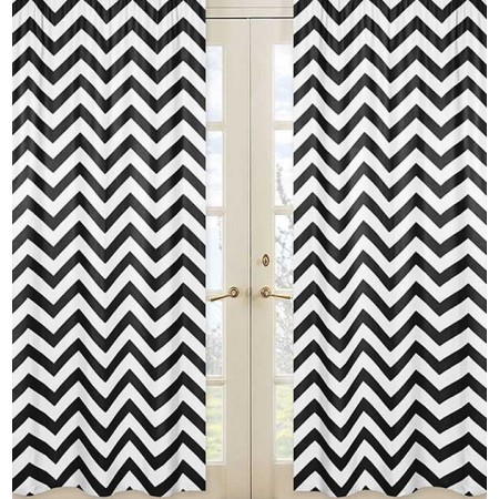 Black & White Chevron Print Window Panels