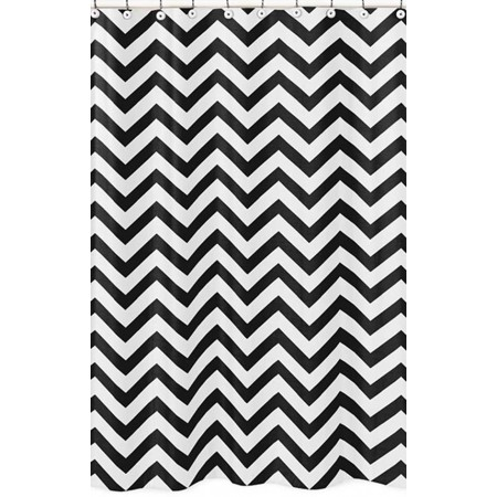 Black & White Chevron Print Shower Curtain