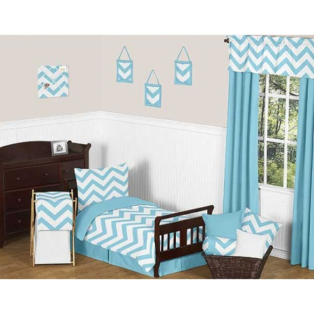 Turquoise & White Chevron Print Toddler Bed Set