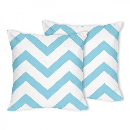 Turquoise & White Chevron Accent Pillow - Set of 2