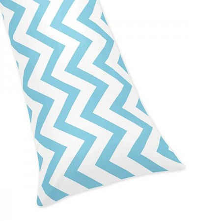 Turquoise & White Chevron Print Body Pillow Cover
