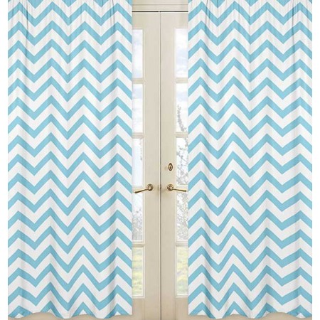 Turquoise & White Chevron Print Window Panels