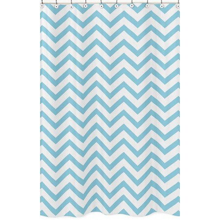 Turquoise & White Chevron Print Shower Curtain