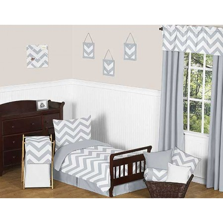 Grey & White Chevron Print Toddler Bed Set
