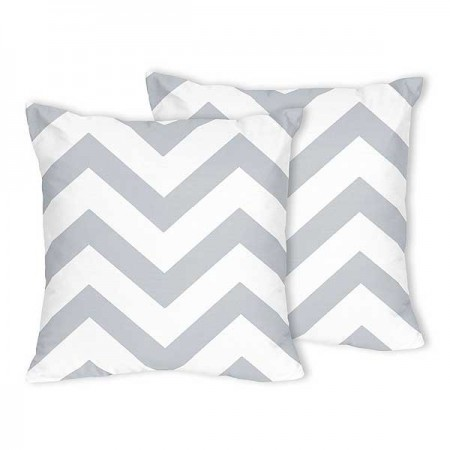 Grey & White Chevron Accent Pillow - Set of 2