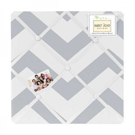 Grey & White Chevron Print Fabric Memo Board