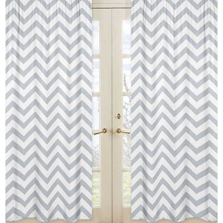 Grey & White Chevron Print Window Panels