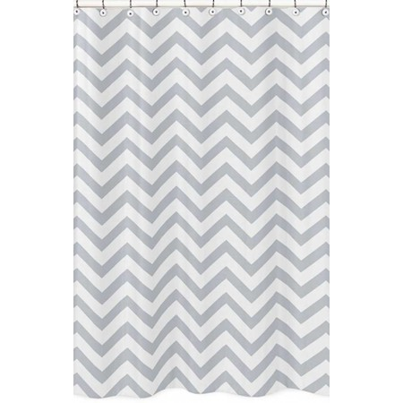 Grey & White Chevron Print Shower Curtain
