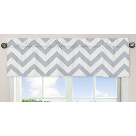 Grey & White Chevron Print Valance