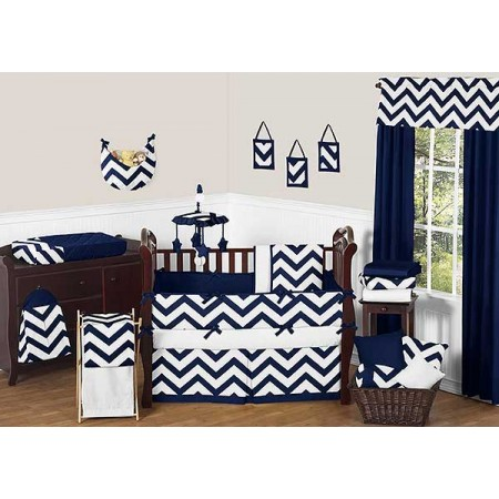 Navy & White Chevron Print Crib Bedding Set