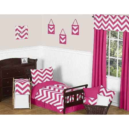 Pink & White Chevron Print Toddler Bed Set