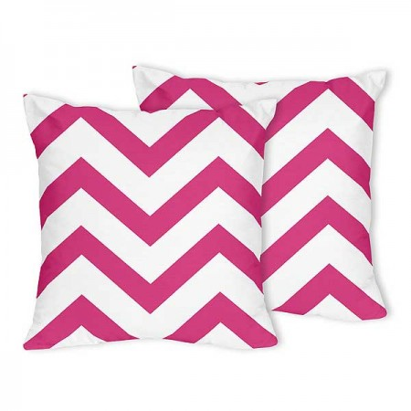 Pink & White Chevron Accent Pillow - Set of 2