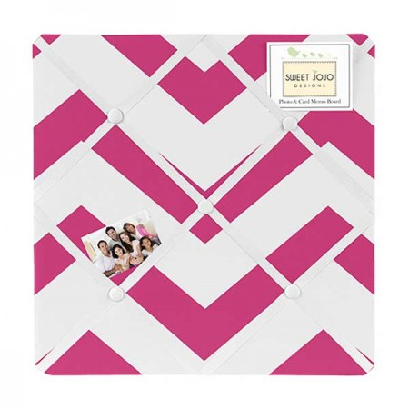 Pink & White Chevron Print Fabric Memo Board