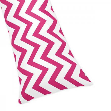 Pink & White Chevron Print Body Pillow Cover