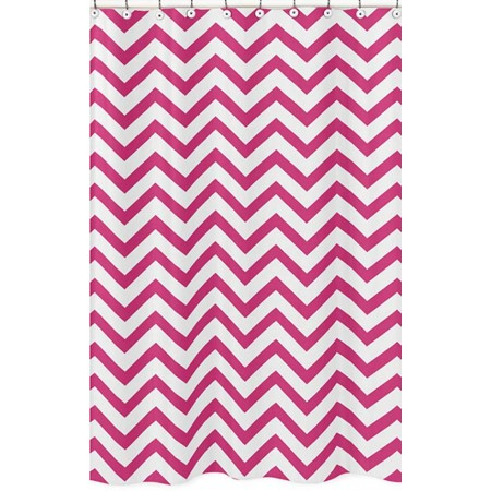 Pink & White Chevron Print Shower Curtain