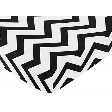 Black & White Chevron Print Crib Sheet