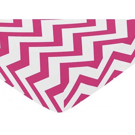 Pink & White Chevron Print Crib Sheet